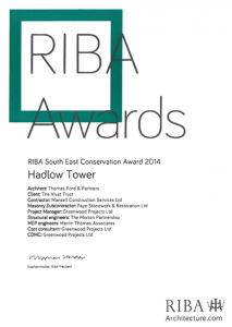 RIBA 2014 Hadlow Tower Conservation Award