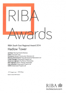 RIBA 2014 Hadlow Tower Regional Award