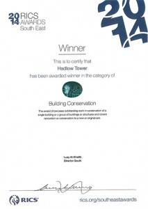 RICS 2014 Hadlow Tower Building Conservation Award